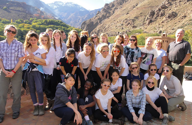 Students and staff at Kasbah du Toubkal, High Atlas Mountains, Morocco